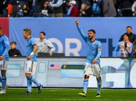New York City FC advanced in the MLS Playoffs on Wednesday with a 3-1 victory over the Philadelphia Union in the knockout round. (Image: Dennis Schneidler/USA Today Sports)