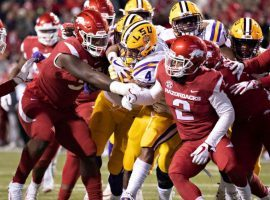 LSU's running back Nick Brossette stopped short of the end zone and let Arkansas prevent him from scoring. (Image: Getty)