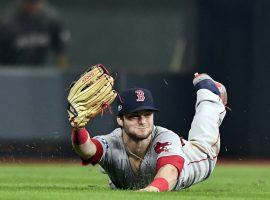 Red Sox left fielder Andrew Benintendi's catch in Game 4 of the ALCS was the play of the MLB season. (Photo: Billie Weiss/Getty Images)