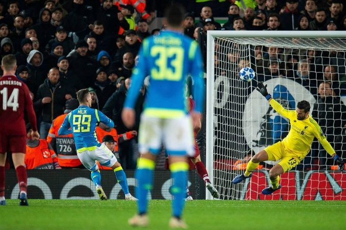 Liverpool goalkeeper Alisson Becker made a brilliant stoppage time save on Arkadiusz Milik to preserve a 1-0 victory for the Reds. (Image: EPA)