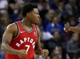 Kyle Lowry led the Toronto Raptors to a victory against the Golden State Warriors in Oakland. (Image: Getty)