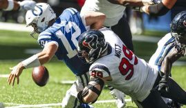Indianapolis quarterback Andrew Luck was pestered by Houston's J.J. Watt and the rest of the defense in the Sept. 30 contest between the two teams. (Image: Houston Chronicle)