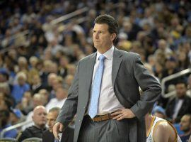 Steve Alford on the sidelines for a UCLA Bruins home game in Los Angeles. (Image: Gary A. Vasquez/USA TODAY Sports)