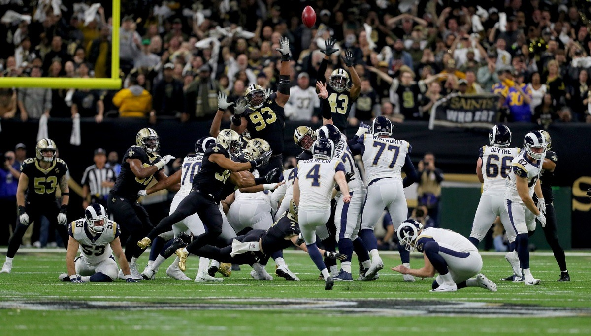 New Orleans Saints WR Tommylee Lewis (11) is knocked down by Los Angeles  Rams DB Nickell Robey-Coleman (23) during the NFC Championship in the  Superdome in ... 7884cfaf6