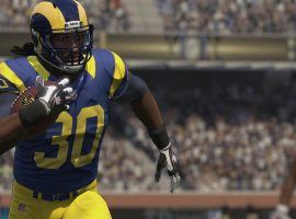 Madden NFL 19 simulation of LA Rams running back Todd Gurley scoring a touchdown. (Image: EA Sports)