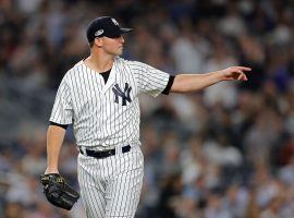 Left-handed Zach Britton of the New York Yankees during a late-season game in the Bronx. (Image: Elsa Garrison/Getty)