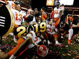 Members of the Clemson football team celebrate their national championship victory over Alabama two weeks ago. (Image: USA Today Sports)