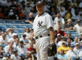 Yankees pitching coach Mel Stottlemyre on the mound during Old Timers Day at Yankee Stadium in the Bronx, New York. (Image: Getty)