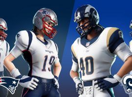 Super Bowl LIII participants, the New England Patriots and LA Rams, have special uniform skins for Fortnite users.(Image: Epic Games)