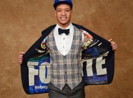 Kevin Knox, then a freshman from Kentucky, displays the Fortnite logo on the inside of his suit jacket before the 2018 NBA Draft. (Image: Jennifer Pottheiser/Getty)