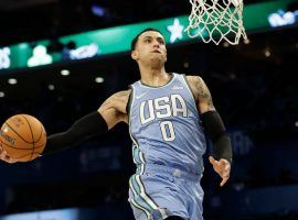 LA Lakers forward Kyle Kuzma winds up for a dunk during the NBA Rising Stars Challenge at All-Star Weekend at Spectrum Center in Charlotte. (Image: Porter Lambert/Getty)
