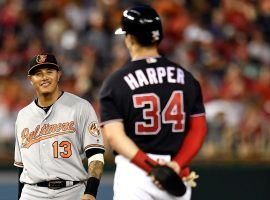 Baltimore Orioles shortstop Manny Machado and Bryce Harper of the Washington Nationals during a game at Nationals Park. (Image: Getty)