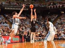 Storm Murphy, shooting guard from Wofford, during their upset of UNC in Chapel Hill, NC in 2017. (Image: Bob Donnan/USA Today Sports)