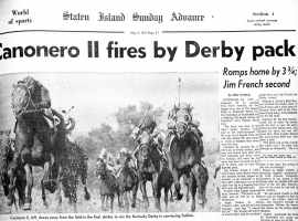Vennezulan-based Canonero II winning 1971 Kentucky Derby.(Image: Staten Island Advance/Irving Silverstein)