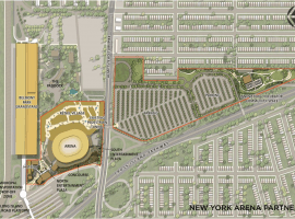 Overhead view of plans for new Islanders' arena at Belmont Park. (Image: New York Arena Partners)