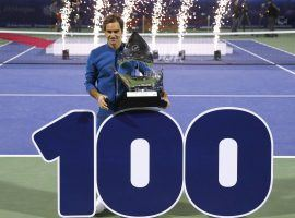 Roger Federer won his 100th career singles title on Saturday, defeating Stefanos Tsitsipas in the Dubai final. (Image: Getty)