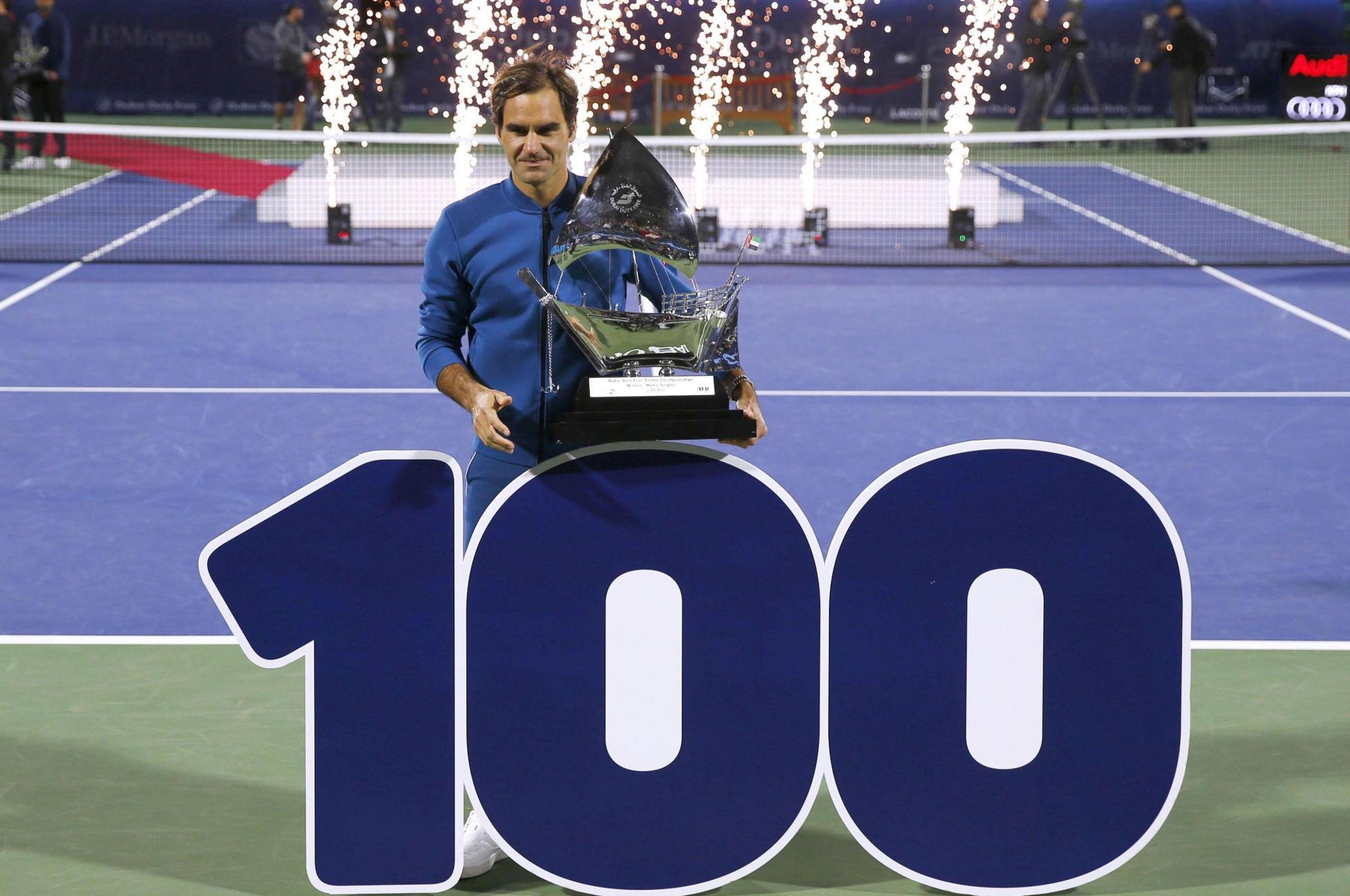 Federer wins 100th title