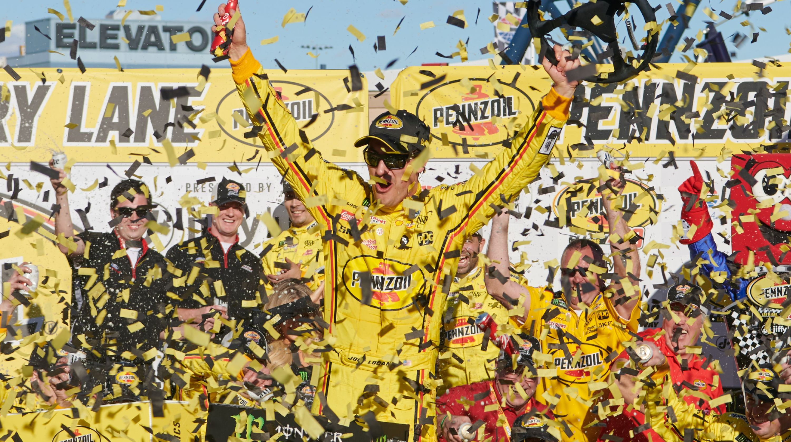 Logano clips teammate Keselowski for Vegas win