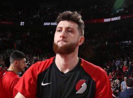 Jusuf Nurkic suffered a horrific leg injury in Portland's win over the Brooklyn Nets on Monday. (Image: Sam Forencich/NBAE/Getty)