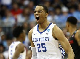 PJ Washington from Kentucky celebrates after a victory against Houston in the March Madness Sweet 16 in Kansas City, MO. (Image: Getty)