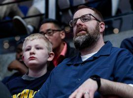 Gregg Nigl (right) had the final perfect bracket for this year's NCAA Tournament until Tennessee lost on Thursday night. (Image: Junfu Han/Detroit Free Press)