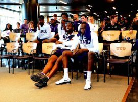 Members of the TCU basketball team watch Selection Sunday and didn't hear their name called for the NCAA Tournament. (Image: Bob Booth/Star-Telegram)