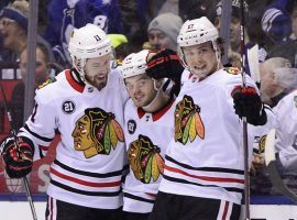 The over/under line for the Chicago-Toronto game was 6.5, and the over hit again, with the Blackhawks 5-4 victory. (Image: AP)