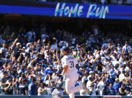Joc Pederson circles the bases after hitting one of his two home runs on Opening Day. (Image: Los Angeles Times)