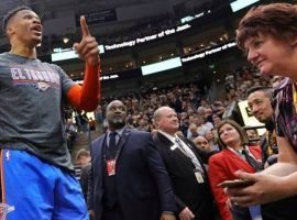 Oklahoma City Thunder's Russell Westbrook got into an altercation with a fan at Monday's game against the Utah Jazz. (Image: AP)