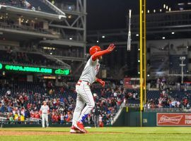 Bryce Harper flips his bat after smashing a two-run home run in the eighth inning of the Philadelphia Phillies victory over the Washington Nationals on Tuesday. (Image: Jonathan Newton/Washington Post)