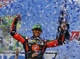 Chase Elliott earned his first win of the NASCAR Cup Series season with a victory Sunday at Talladega Superspeedway. (Image: Butch Dill/AP)
