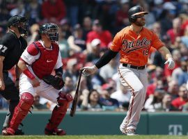 Baltimore Orioles 1B Chris Davis ends his hitless streak against the Boston Red Sox at Fenway Park in Boston, MA. (Image: Michael Dwyer/AP)