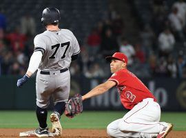 Yankees outfield Clint Frazier (77) sprained his ankle in an extra innings game against the LA Angels in Anaheim, CA. (Image: Richard Mackson/USA Today Sports)