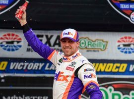 Denny Hamlin overcame a mix of penalties and errors to win the O'Reilly Auto Parts 500 at Texas Motor Speedway. (Image: Jerome Miron/USA Today Sports)