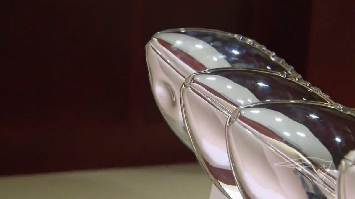 Gronk dents Super Bowl trophy