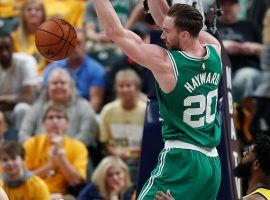 Gordon Hayward from the Boston Celtics finishes a dunk during a Game 4 victory over the Indiana Pacers in the 2019 NBA Playoffs. (Image: Matt Kryger/IndyStar)