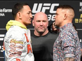 Max Holloway (left) and Dustin Poirier (right) will fight for the interim lightweight title on Saturday at UFC 236. (Image: Jeff Bottari/Zuffa/Getty)
