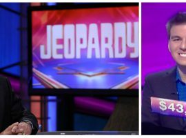 Professional sports gambler James Holzhauer won more than $43,000 in his Jeopardy! debut. (Images: Jeopardy, nctv17.com)