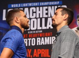 Vasiliy Lomachenko (left) will defend his lightweight title against mandatory challenger Anthony Crolla (right) on Friday night. (Image: Mikey Williams/Top Rank)