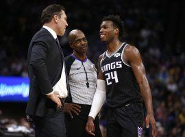 LA Lakers coach Luke Walton and Buddy Hield from the Sacramento Kings at Staples Center in Los Angeles. (Image: Cary Edmondson/USA Today Sports)