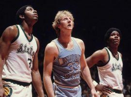 Michigan State's Magic Johnson (left) and Larry Bird (33) from Indiana State line up for a free throw in the 1979 NCAA Championship game in Salt Lake City, Utah. (Image: AP)