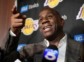 Magic Johnson announced his intentions to step down as president of the Lakers during a press conference in El Segundo, CA. (Image: Mark J. Terrill/AP)