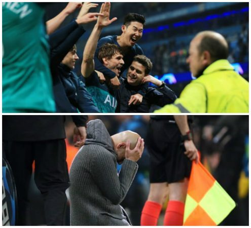 Tottenham Hotspur players celebrate (above) while Manchester City manager Pep Guardiola is stunned at the end of their Champions League match on Wednesday. (Images: Matt West/BPI/Rex/Shutterstock, Marc Atkins/Getty)