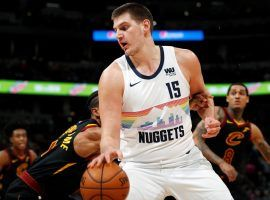 Denver Nuggets center Nikola Jokic going to the basket against the Cleveland Cavs at the Pepsi Center in Denver, Colorado. (Image: David Zalubowski/AP)