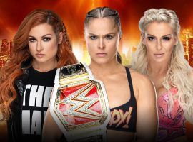The main event of WrestleMania 35 is a triple treat contest between Becky Lynch (left), Ronda Rousey (center), and Charlotte Flair (right).