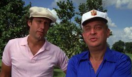 "Ty Webb (Chevy Chase) and Al Czervik (Rodney Dangerfield) as golfers in the 1980 film ""Caddyshack"" by Orion Pictures. (Image: Orion)"