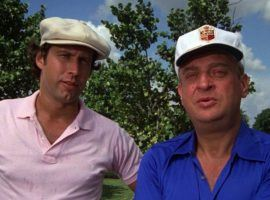 """Ty Webb (Chevy Chase) and Al Czervik (Rodney Dangerfield) as golfers in the 1980 film """"Caddyshack"""" by Orion Pictures. (Image: Orion)"""