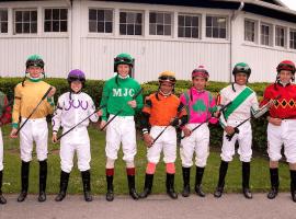 Laurel Park jockeys display new tech riding crops before Thursday races. (Image: Laurel Park)