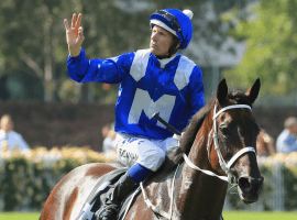 Winx with jockey Hugh Bowman aboard calling it a career Saturday. (image: Mark Evans/Getty)