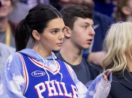 Model and social media influencer Kendell Jenner sitting courtside watching her boyfriend, Ben Simmons, play for the Philadelphia 76ers. (Image: Getty)